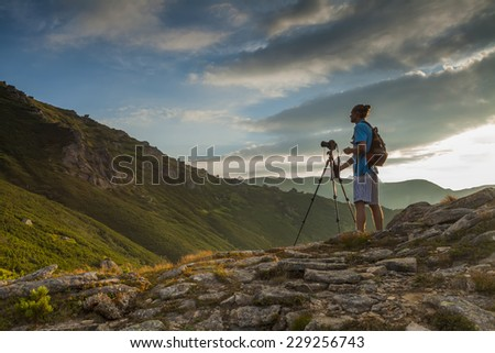 Photographers to shoot beautiful mountain landscape