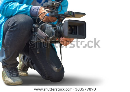 Photographers were held video movie camera low angle. isolated on white background. This has clipping path.