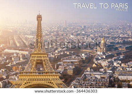 Photographic composition of famous landmarks and sunny cityscape background in Paris,France