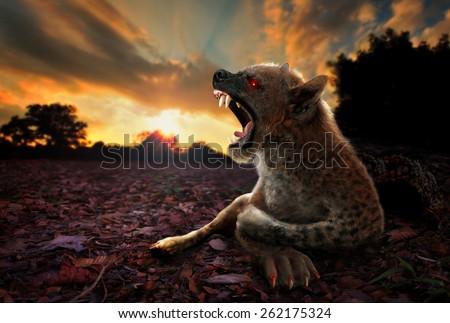 Photographic Digital Art portraying resemblance of fierce Chupacabra - stock photo