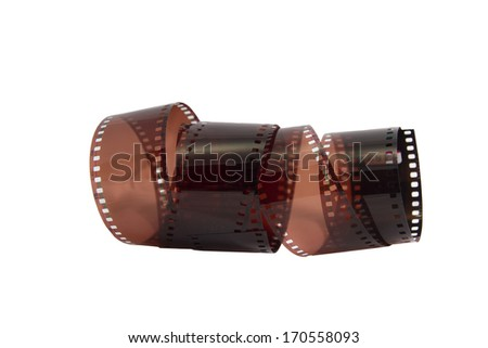 Photographic film on a white background