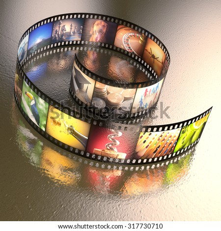 Photographic film with several photos on an uneven table metal. Clipping path included. - stock photo
