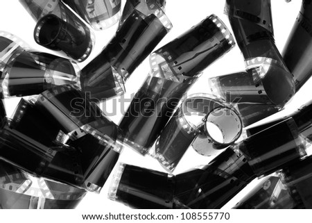 Photographic films , insulated on white background - stock photo