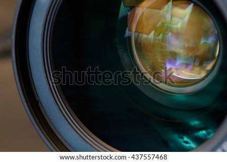 photographic lens - stock photo