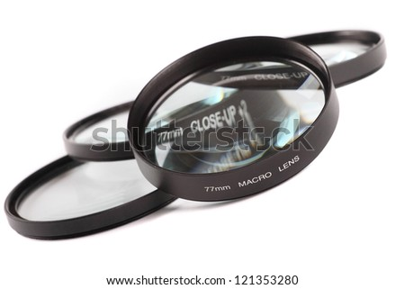Photographic macro and close up lenses - stock photo
