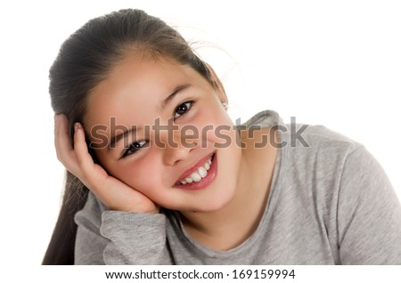 photographic portrait of a girl in a relaxed position - stock photo