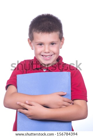 photographic portrait of a schoolboy with red sweater and a blue folder on a white background - stock photo