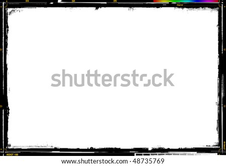 Photographic rough border, with crop marks, color scale and gray-scale - stock photo