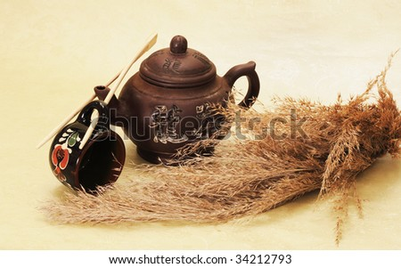 Photographing of still-lifes and compositions from artefacts and elements of the Chinese material culture - stock photo