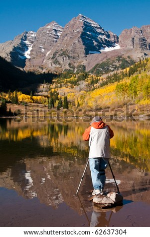 Photographing The Maroon bells - stock photo
