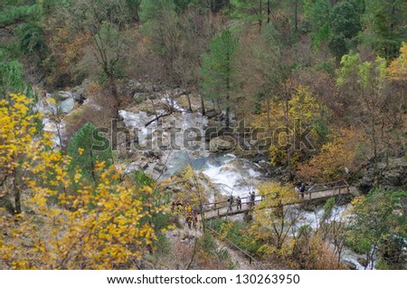 Photographs from high point mountain. It shows a natural landscape with a river located in Albacete (Spain)