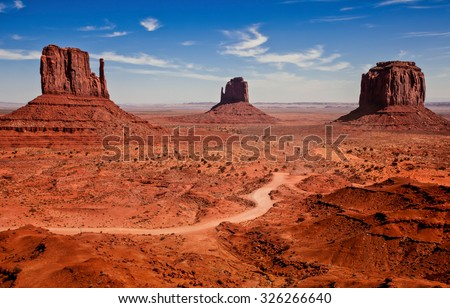 Photographs of famous Monuments Valley National Park - stock photo