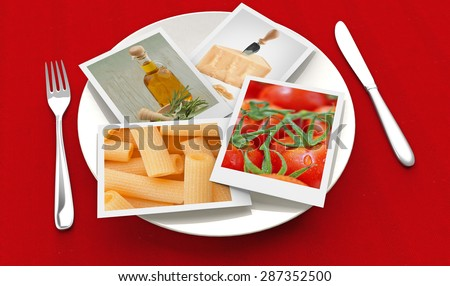 photographs of food inside a plate, fork and knife on red background - stock photo