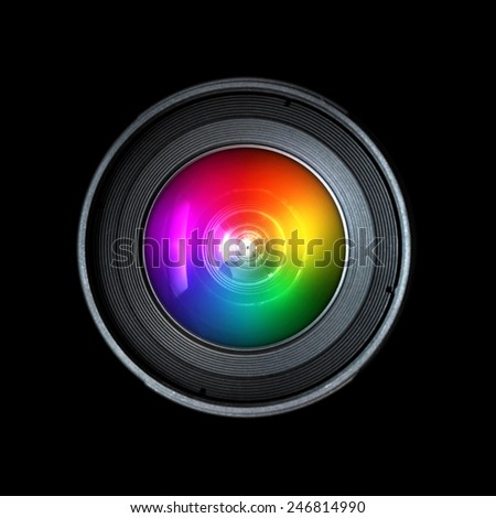 Photography camera lens, front view isolated on black background - stock photo