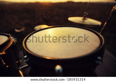 Photography close up Toms on a drum set - stock photo