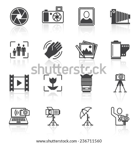 Photography equipment camera photo icons black isolated  illustration - stock photo