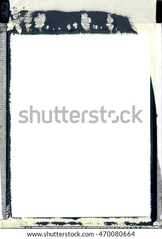 Photography film photo frame with dirty chemical leak and blank inner area background isolated