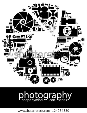 Photography icon symbols composed in the shape of a aperture blade - stock photo