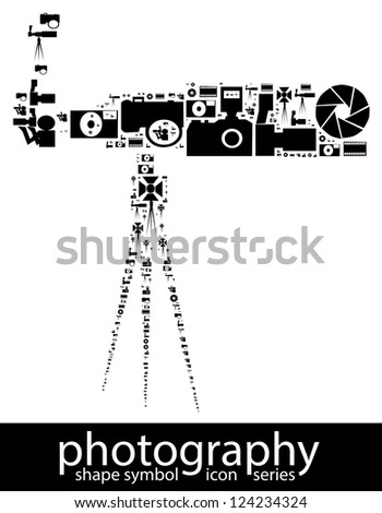 Photography icon symbols composed in the shape of a dslr camera with long lens and a tripod attached to it