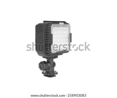 Photography led light with filter glass isolated on white background commonly used as a lighting tools for photographer.