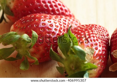 photography strawberry close on a white plate