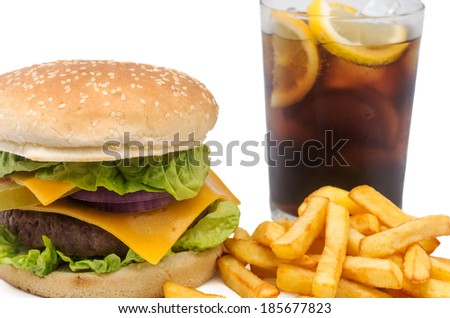 Photography studio a burger with fries and a coke