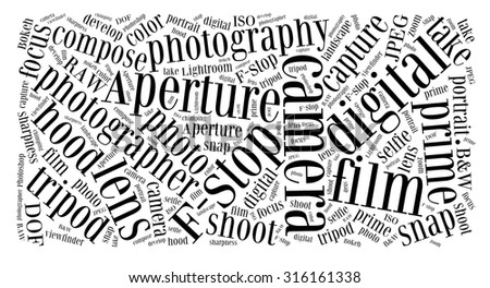 Photography terms word cloud in black and white - stock photo