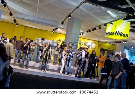 PHOTOKINA, COLOGNE - SEPTEMBER 28: Nikon at Photokina - World of Imaging, Top Event for the Trade and User, September 28, 2008 in Cologne, Germany.