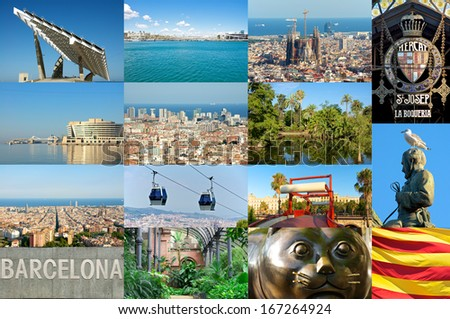 Photomontage from sights and famous places in Barcelona. The city has plenty of attractions. Sagrada Familia, Basilika, Torre Agbar, Boqueria, etc. It is one of the famous cities at the mediterranean - stock photo