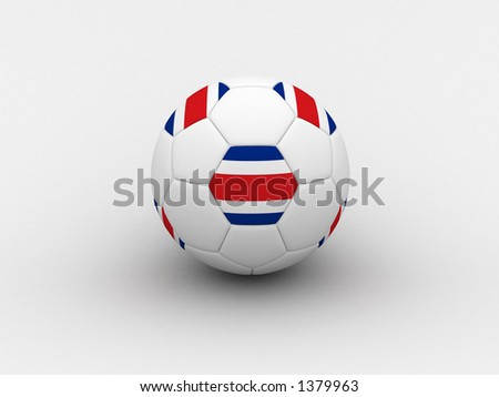 Photorealistic 3D soccer ball isolated on white background in national Costarica colors - stock photo