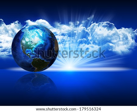 Photorealistic Earth. Elements of this image are furnished by NASA - stock photo
