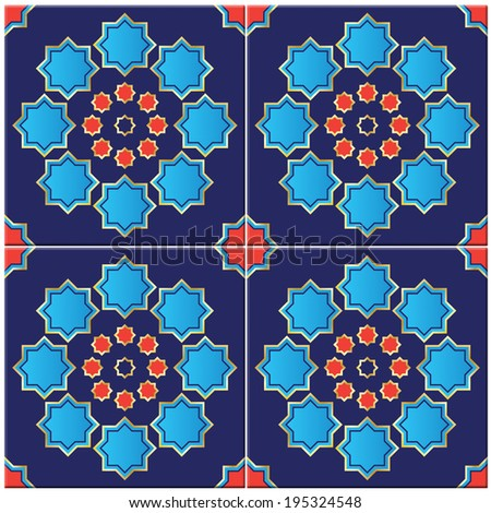 Photorealistic illustration of a seamless Turkish tile isolated on white genuine design - stock photo