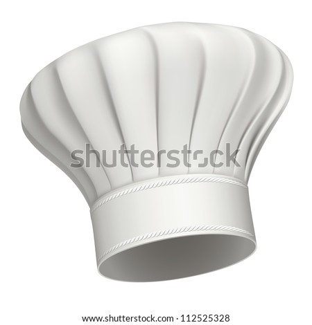 Photorealistic illustration of a white chef hat - stock photo