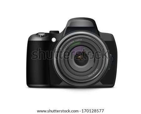 Photorealistic modern digital camera with large zoom lens. Perfect to represent photography. On a white background.