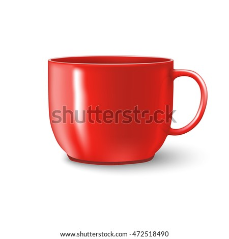 photorealistic red coffee cup with shadows over white background