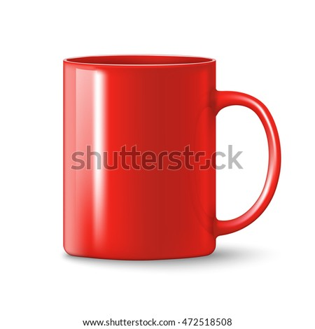 photorealistic red cup with shadows over white background