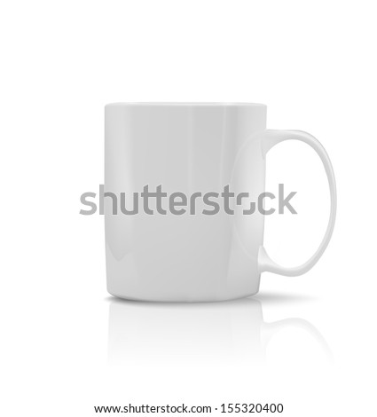 Photorealistic white cup on white background. See also vector version - stock photo