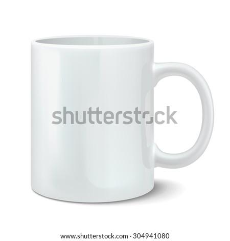 Photorealistic white cup. Rasterized Copy - stock photo