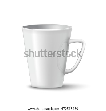 photorealistic white cup with shadows over white background