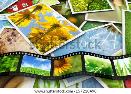 Photos and film with images - stock photo