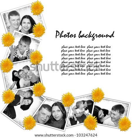 Photos background with flowers dandelions and different black and white shots of family - stock photo