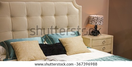 Photos bed in the bedroom - stock photo