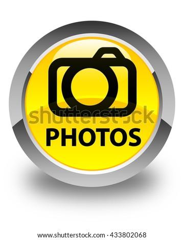 Photos (camera icon) glossy yellow round button - stock photo
