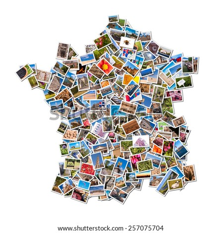 Photos collage in the shape of France isolated on white background
