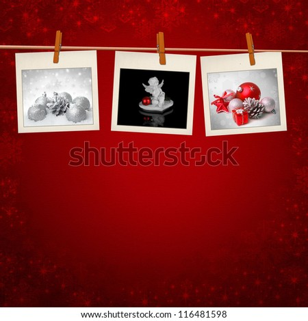 Photos frames on christmas background - stock photo