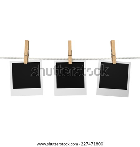 Photos hanging on a rope. 3d illustration isolated on white background  - stock photo