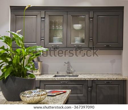 Photos kitchen set in the interior - stock photo