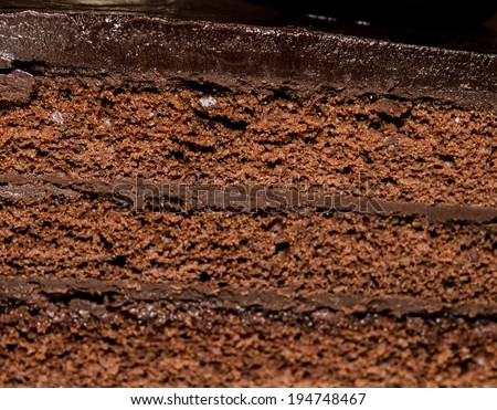 Photos of chocolate Cake of close-up shooting.