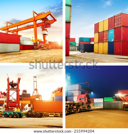 Photos of container terminals, cranes and forklifts work. - stock photo