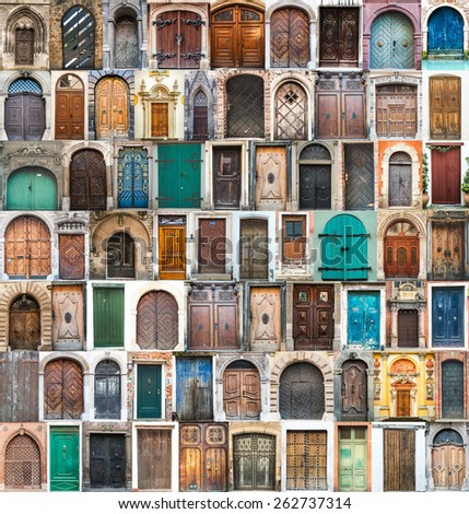 photos of doors and windows of the old districts of Europe - stock photo